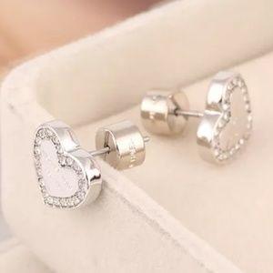Michael Kors Jewelry - Michael Kors Silver Heart Crystal Stud Earrings